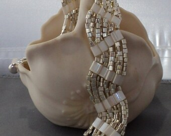Silvery Waves on Snow Hand Beaded Bracelet Silver White Bridal Bride