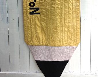 Yellow No. 2 Pencil Quilt, Organic Quilt, Pencil Quilt, Fiber Art Quilt, Novelty Quilt, Teacher Gifts, Classroom Decor