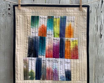 Color Swatch Quilt, Organic Cotton, Handmade Wall Hanging, Mini Art Quilt