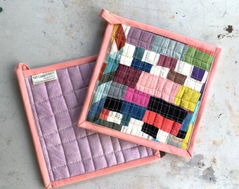 Quilted Pot Holders, Set of Two Modern Table Trivets, Hand-Dyed Organic Cotton Hot Pad #075