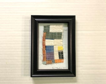 Quilted Wall Hanging, Organic Cotton, Mini Art Quilt #01