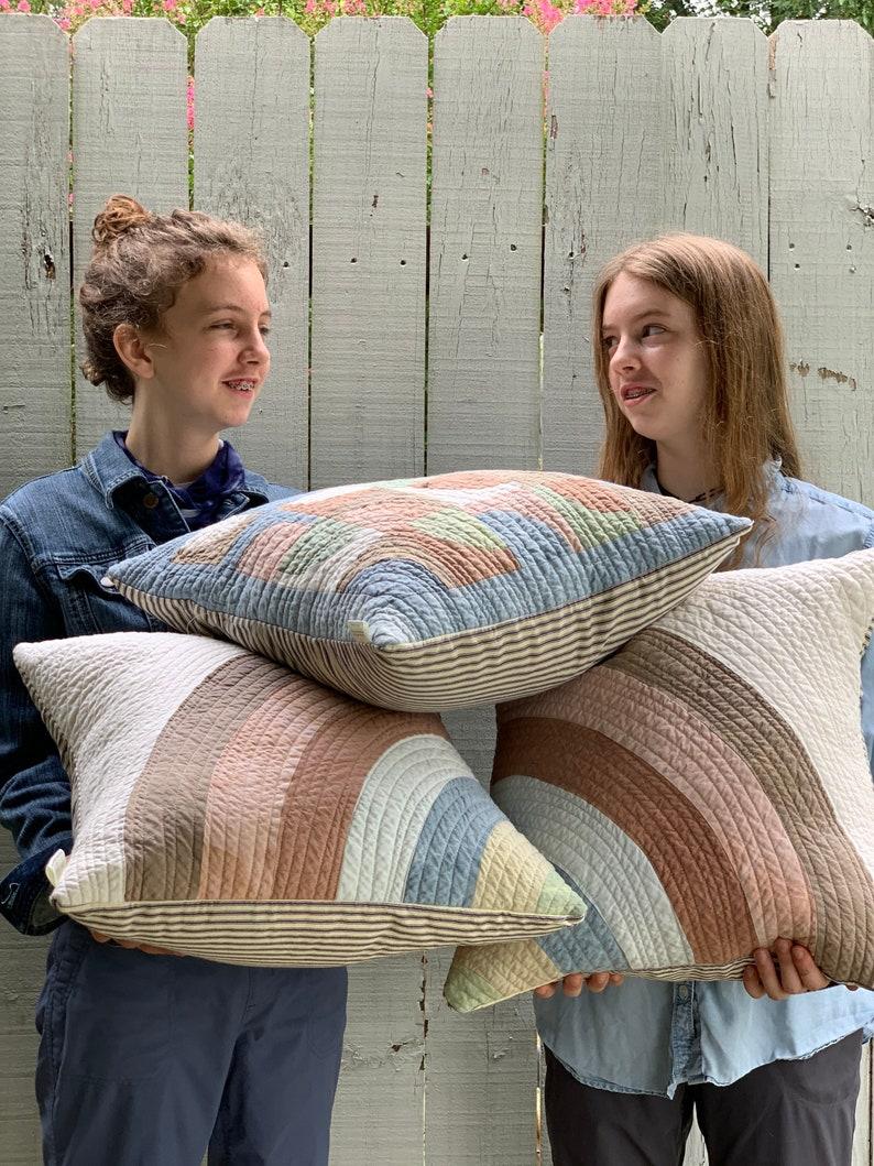 Organic Cotton Handmade Cushion Modern Quilt Pillow Botanical Dye Mini Art Quilt Pillow Cover Quilted Throw Pillow