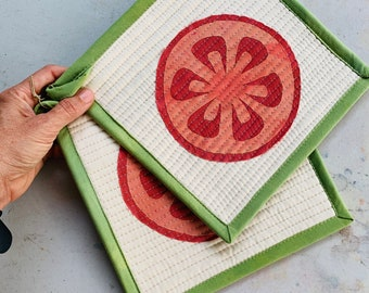 Quilted Pot Holders, Set of Two Modern Table Trivets, Hand-Dyed Organic Cotton Hot Pad, Heirloom Tomato #060