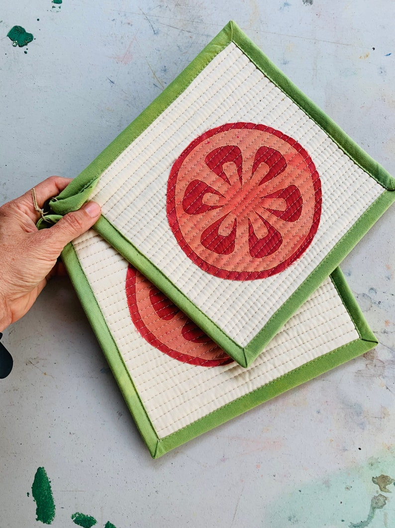 Quilted Pot Holders Set of Two Modern Table Trivets image 0
