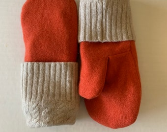 Cashmere Sweater Mittens - Upcycled Wool and Fleece Mittens - Bernie Sweater Mittens #011