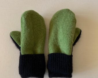 Cashmere Sweater Mittens - Upcycled Wool and Fleece Mittens - Bernie Sweater Mittens #016