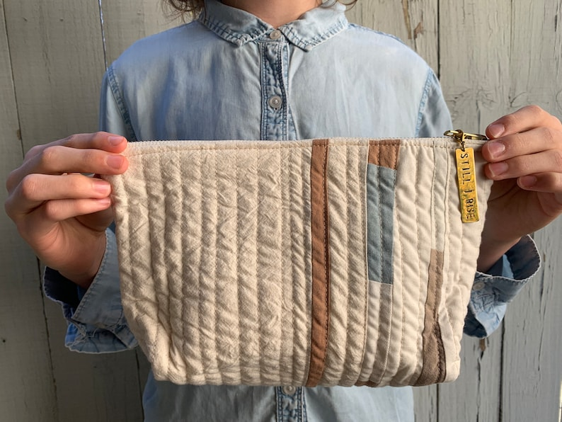 Quilted Pencil Pouch Quilted Zipper Pouch Hand-Dyed Organic image 0