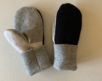 Cashmere Sweater Mittens - Upcycled Wool and Fleece Mittens - Bernie Sweater Mittens #04