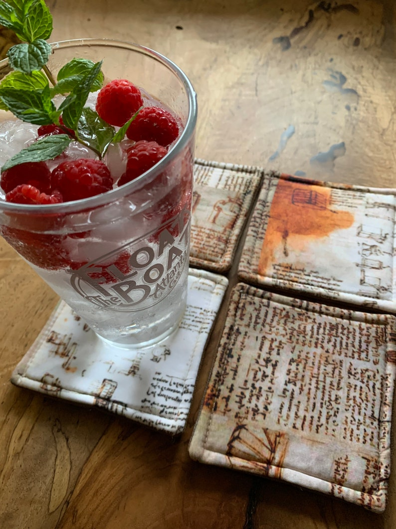 Handmade Coaster Set of Four Quilted Mug Rug Waxed Canvas image 0