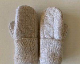 Cashmere Sweater Mittens - Upcycled Wool and Fleece Mittens - Bernie Sweater Mittens #013