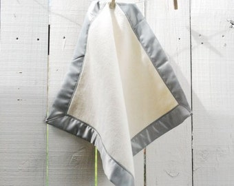 Organic Cotton Fleece Baby Blanket with Satin Trim, Baby Gifts, Satin Lovey