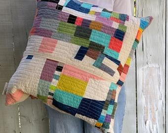 Quilted Throw Pillow, Organic Cotton, Handmade Cushion, Mini Art Quilt Pillow Cover #086