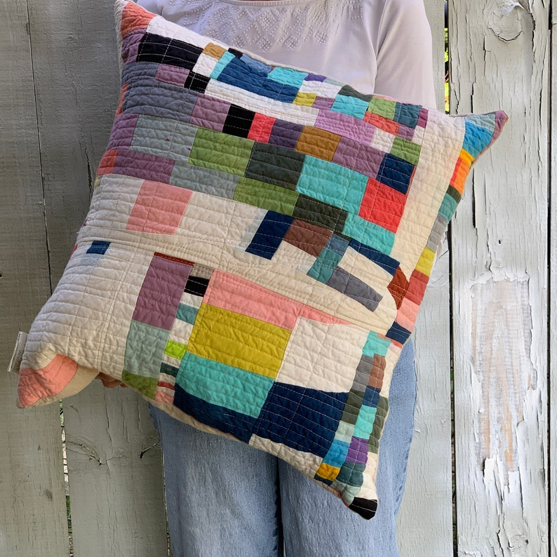 Quilted Throw Pillow Organic Cotton Handmade Cushion Mini image 0