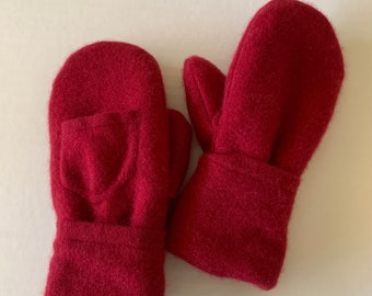 Cashmere Sweater Mittens - Upcycled Wool and Fleece Mittens - Bernie Sweater Mittens #015
