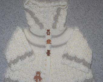 Handmade Crochet Girls Hooded Baby Sweater Jacket