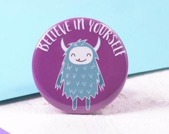 Yeti Pin Badge - Cute Monster Brooch - Stocking Fillers Stocking Stuffer - Secret Santa - Party Bag Filler - Encouragement Gift