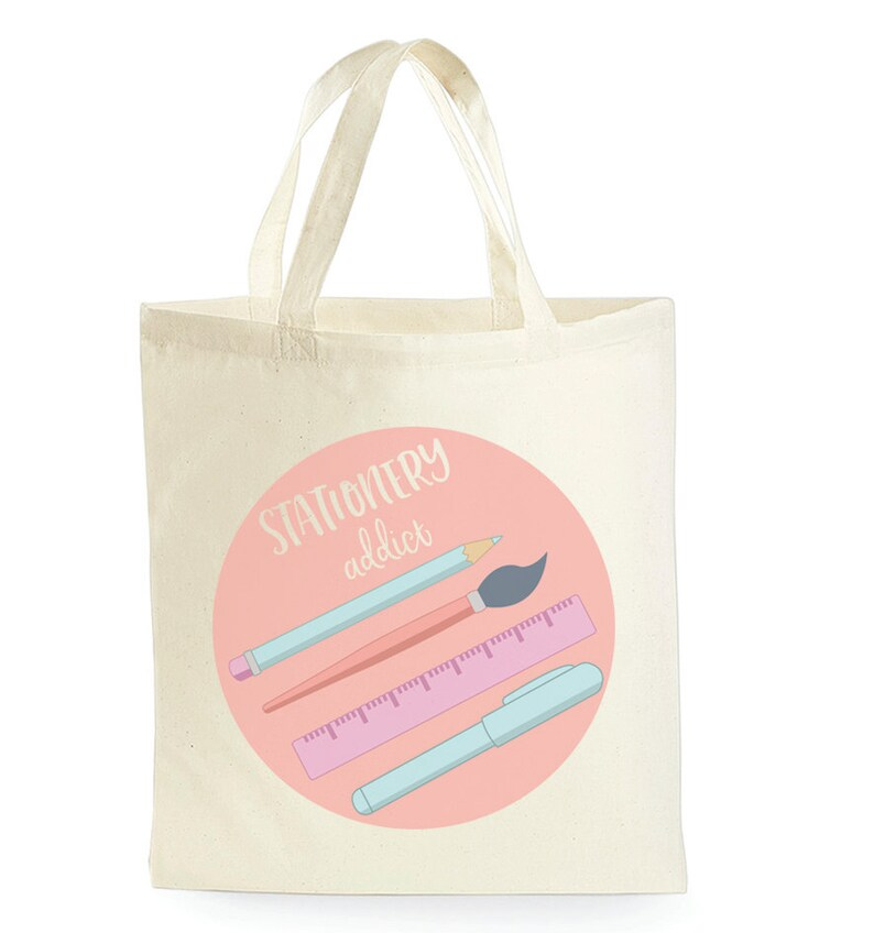 Stationery Addict Tote Bag  Gift for Stationery Lover  Funny image 0