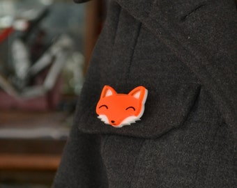 Fox Brooch - Fox Gift - Stocking Fillers - Stocking Stuffers - Fox Jewellery - Gifts For Fox Lovers - Cute Brooch - Fox Gifts