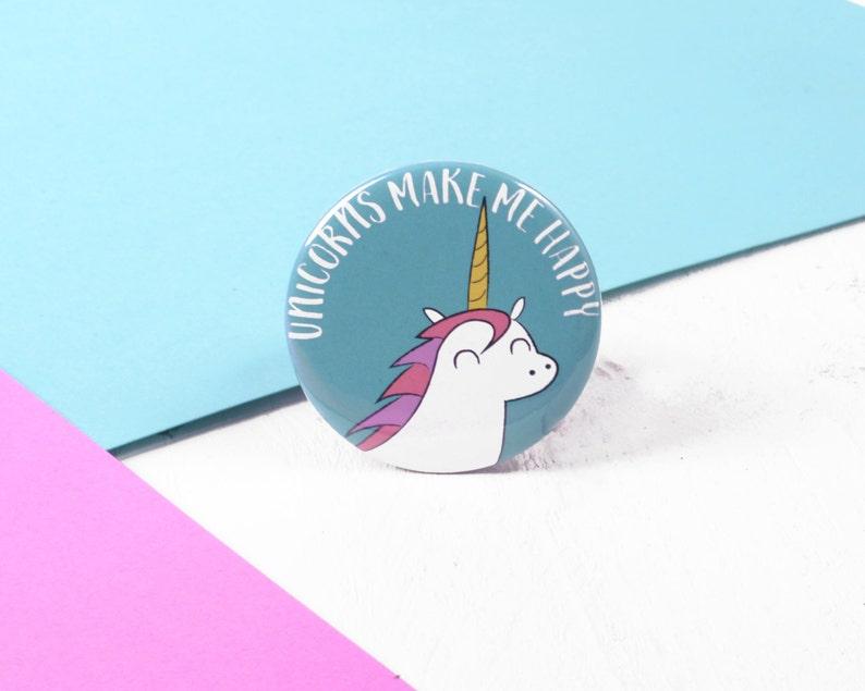 Unicorn Badge / Unicorn Pin / Unicorn Gift / Kawaii Badge image 0