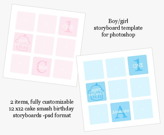 Cake Smash Or First Birthday Storyboard Photoshop Template