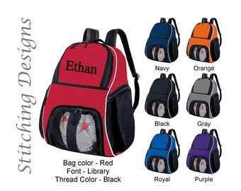 Personalized soccer backpack, Equipment bag, Soccer ball bag, Sports bag,  Embroidered, Soccer bag, Monogrammed Soccer backpack, 7 Colors 2d8ac1721e