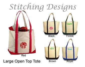 Monogrammed canvas tote, bridesmaid gift, Beach bag, Monogram Teacher tote, Open top  - LARGE - 5 Colors