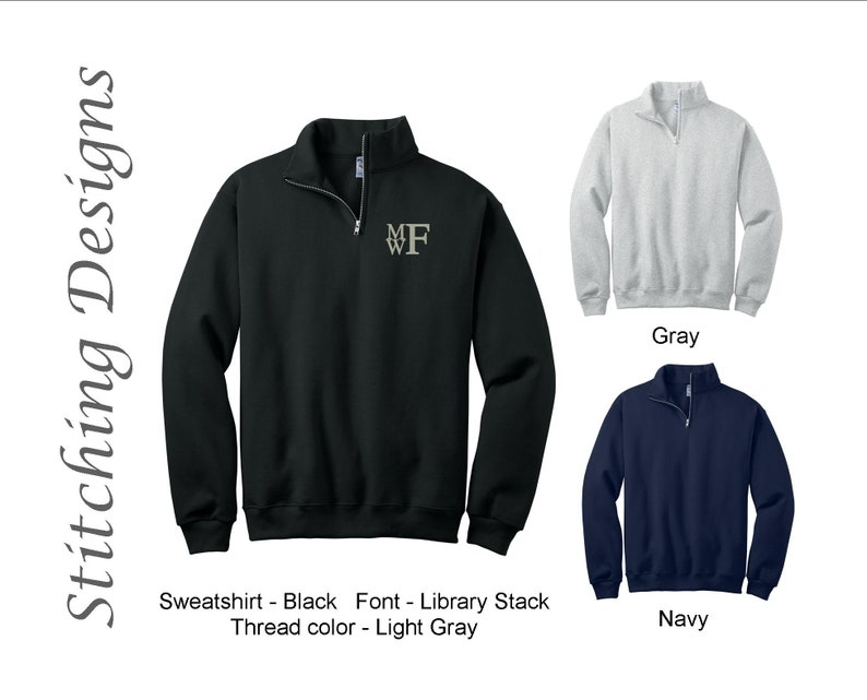 Quarter zip Monogrammed Sweatshirt, SALE, Monogram pullover, monogram sweatshirt, Men's Monogram sweatshirt, Navy, Black, Gray