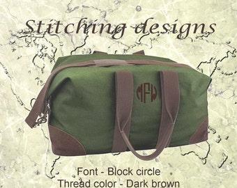 Men's Duffle Bag, Canvas Duffel bag, Weekender, Travel weekender, Monogram duffel, canvas satchel - NATURAL or GREEN with brown trim