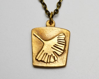 Bronze Clay Ginkgo Leaf Pendant Necklace