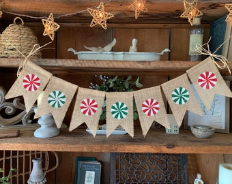 Christmas Candy Banner, Christmas Banner, Holiday Bunting, Red and Green Banner, Candy Cane Banner, Christmas Decor, Candy Cane Decorations