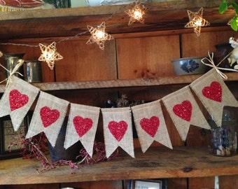 Heart Banner, Love Bunting, Valentines Day Bunting, Valentines Day Banner, Valentines Day Garland, Valentines Pennant, Valentine