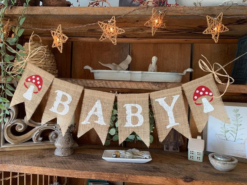 Baby Bunting Burlap Baby Shower Banner Baby Shower Decoration Mushroom Banner Baby Banner Mushroom Bunting Baby Decor