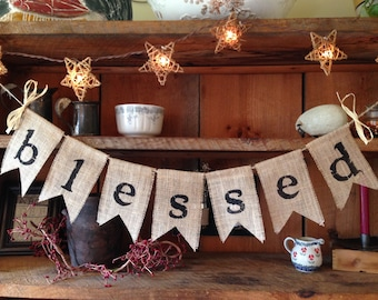Burlap Blessed Banner, Burlap Banner, Blessed Garland, Burlap Bunting, Christmas Bunting, Rustic Christmas Decor, Holiday Bunting, Blessed