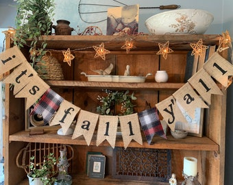 Red Plaid Fall Banner, It's Fall Y'all Banner, Autumn Banner, Fall Fireplace Banner, Burlap Fall Banner, Fall Wedding Banner