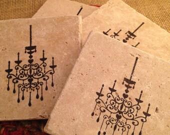Tile Coasters, Travertine Tile Coasters, Travertine Coasters, Drink Coasters, Chandelier Coasters, Wedding Gift, Birthday Gift, Rustic
