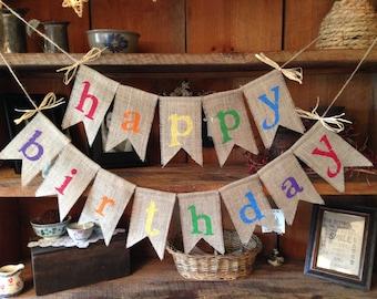 Birthday Banner Primary Colors, Birthday Garland, Birthday Banner, Burlap Bunting, Burlap Garland, Birthday Decorations, Birthday Bunting