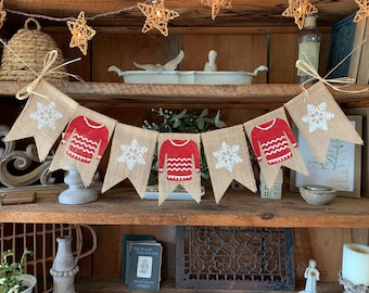 Red Christmas Banner, Sweater Weather, Snowflake Banner, Christmas Banner, Christmas Burlap Bunting, Red Sweater Christmas Banner
