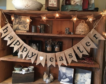 Easter Banner, Happy Easter Banner, Burlap Banner, Easter Bunting, Burlap Easter Banner, Easter Garland, Easter Decoration, Easter Garland