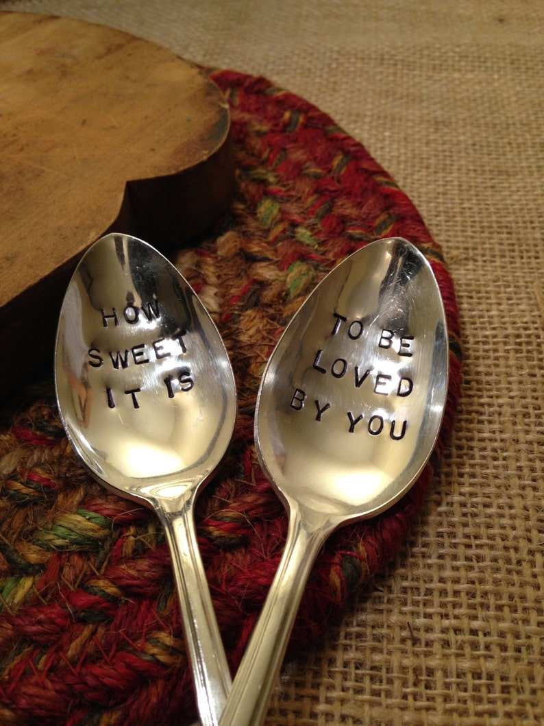 Hand Stamped Silver Serving Spoon Wedding Gift Vintage Serving Spoon Hostess Gift Home Sweet Home