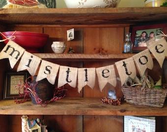 Christmas Banner, Mistletoe Banner, Christmas Bunting, Burlap Bunting, Pennant, Garland