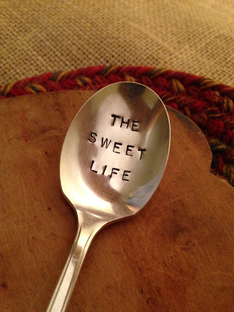 Hand Stamped Vintage Sugar Spoon Stamped Spoon Wedding Gift Stamped Sugar Spoon Vintage Silver Birthday Gift Stamped Vintage Spoon