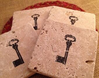 Tile Coasters, Travertine Tile Coasters, Travertine Coasters, Drink Coasters, Vintage Key Coasters, Wedding Gift, Birthday Gift, Rustic