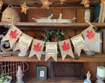Fall Banner, Sweater Weather Banner, Fall Leaves Banner, Autumn Banner, Fall Burlap Bunting,  Fall Decor, Fall Wedding Decor
