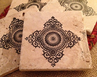 Tile Coasters, Travertine Tile Coasters, Travertine Coasters, Drink Coasters, Tribal Coasters, Wedding Gift, Birthday Gift, Rustic