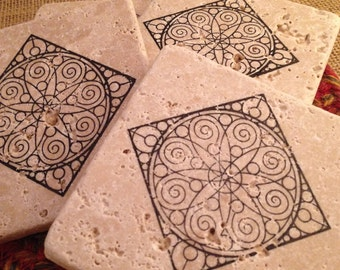 Tile Coasters, Travertine Tile Coasters, Travertine Coasters, Drink Coasters, Graphic Coasters, Wedding Gift, Birthday Gift, Rustic