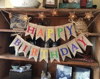 Colorful Birthday Banner, Burlap Happy Birthday Banner, Birthday Garland, Birthday Garland, Birthday Banner, Burlap Bunting, Happy Burlap