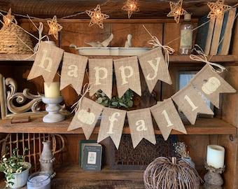 Happy Fall Burlap Banner, Fall Banner, Autumn Garland, Burlap Banner, Autumn Banner, Fall Bunting, Autumn Wedding Decor, Happy Fall Decor