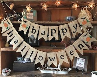 Happy Halloween Banner, Happy Halloween Bunting, Happy Halloween Burlap Banner,  Autumn Garland, Burlap Banner, Autumn Bunting, Fall Bunting