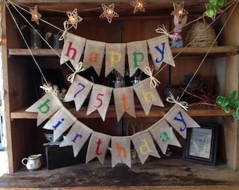 Burlap Happy Birthday Colorful Banner