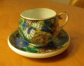 Antique Hand Painted Gilded Japanese Kutani Eggshell Porcelain Demitasse Cup and Saucer - Yellow w Bird and Flowers - Xlnt.
